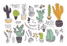 Collection de vecteur de différentes formes tirées par la main de cactus et d'éléments abstraits de griffonnage d'isolement sur l illustration de vecteur