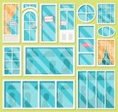 Collection de vecteur de divers fenêtres et types de portes avec des ombres des personnes Placez des portes avec le signe ouvert  illustration de vecteur
