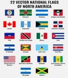 Collection de vecteur de 22 drapeaux nationaux de l'Amérique du Nord illustration de vecteur
