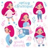 Collection de vecteur de Joyeux Noël et de bonne année 2019 Vacances tirées par la main réglées dans le style de bande dessinée illustration de vecteur