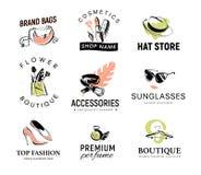 Collection de vecteur de logo à la mode différent de dame pour le magasin d'accessoire et d'habillement, la boutique d'arome et d illustration libre de droits