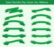 Collection de vecteur : rubans verts Photos libres de droits