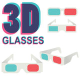 Collection de verres 3d d'isolement sur le blanc,  Image libre de droits