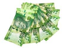 Collection de vert dix billets de banque sud-africains de Rand sur le blanc Photos libres de droits