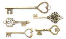 Collection de vieille clé d'amour d'isolement Images libres de droits