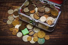 Collection de vieilles pièces de monnaie soviétiques, Photo libre de droits