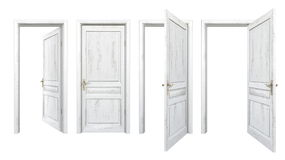 Collection de vieilles portes en bois d'isolement sur le blanc Photo stock