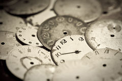 Collection de vieux cadrans d'horloge Photo stock