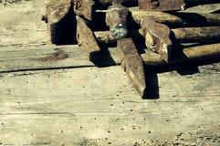Collection de vieux marteaux photo stock