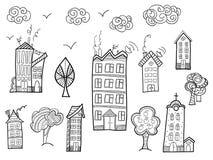 Collection de ville dans le style de griffonnage Images stock