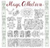Collection de vintage avec le Maya tiré par la main et les modèles et les symboles aztèques illustration libre de droits