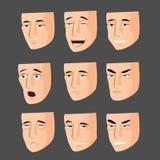 Collection de visages d'émotion de bande dessinée Illustration Stock