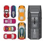 Collection de voitures avec le lamborghini et le barracuda de Ferrari à l'intérieur Photo libre de droits