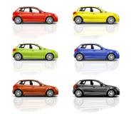Collection de voitures de la berline avec hayon arrière 3D Photographie stock libre de droits