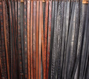 Collection of deatailed leather belts Royalty Free Stock Photo