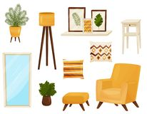 Decor elements for living room. Furniture concept. Collection decor elements for living room. Furniture concept. Interior object in apartment. Vector flat royalty free illustration