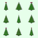 Collection of decorated christmas trees. Flat style  illustration Stock Image