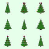 Collection of decorated christmas trees. Flat style  illustration Royalty Free Stock Image
