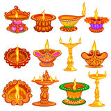 Collection of Decorated diya for Happy Diwali holiday background. Easy to edit vector illustration of collection of decorated diya for Happy Diwali holiday stock illustration