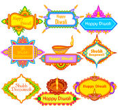 Collection of Decorated diya for Happy Diwali holiday background Royalty Free Stock Image