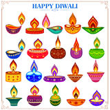 Collection of decorated diya for Happy Diwali holiday Stock Image