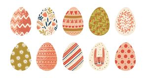 Collection of decorated Easter eggs isolated on white background. Bundle of symbols of religious holiday covered with. Different ornaments - flowers, stripes royalty free illustration