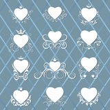 Collection of decorated hearts. Royalty Free Stock Images