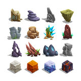 Collection of decoration icons for games. Set of cartoon stones. Royalty Free Stock Images