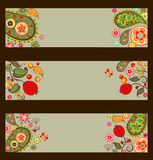 Collection of decorative autumnal banners with paisley Royalty Free Stock Photography