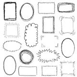 Collection of decorative black hand drawn frames on white background. Simple, grunge, sketch and doodle style Royalty Free Stock Photography