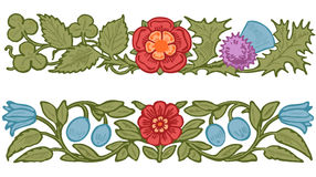 Collection decorative design of flowers and. Leaves in vintage style vector royalty free illustration