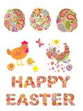 Collection of decorative easter floral eggs and funny hen Stock Images