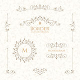 Collection of decorative elements. Borders, monograms and seamless pattern. Set of decorative  borders, monograms and seamless pattern. Template signage, labels Stock Photos