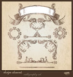 Collection of decorative elements, frames and borders Royalty Free Stock Photo