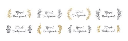 Collection of decorative floral backgrounds hand drawn with contour lines. Set of natural woven decorations made of. Coniferous tree branches, leaves, flowers Stock Photo