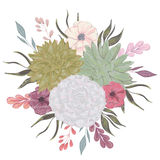 Collection decorative floral design elements for wedding invitations and birthday cards. Succulents, flowers and leaves. Stock Photos