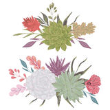 Collection decorative floral design elements for wedding invitations and birthday cards. Succulents, flowers and leaves. Royalty Free Stock Photography
