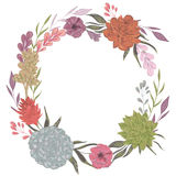 Collection decorative floral design elements for wedding invitations and birthday cards. Succulents, flowers and leaves. Stock Photo
