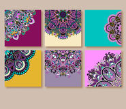 Collection of decorative floral greeting cards in Stock Photos