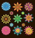 Collection of decorative flowers. On black background Stock Photography