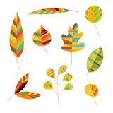 Collection of Decorative Foliage. Decorative leaves in warm colors and stylized shapes Royalty Free Stock Photo