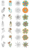 Collection of decorative ornate flowers for coloring Stock Images