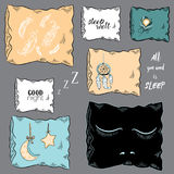 Collection of decorative pillows with dream catcher, feathers, closed eyes, moon and star. Vector illustration on grey background. Set of decorative pillows with royalty free illustration