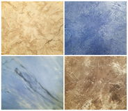 Collection of decorative plaster with marble effect, art brush texture Royalty Free Stock Photos