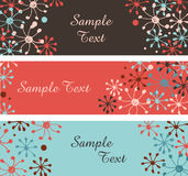 Collection of decorative snowflakes banners. Horizontal borders with place for text Stock Photo