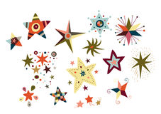 Collection of decorative stars. Decorative stars with various shapes and colors Royalty Free Stock Photos