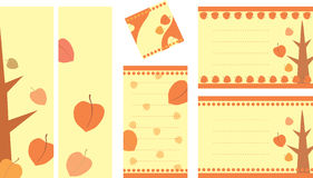 Collection of decorative tags with autumn illustration Royalty Free Stock Images