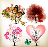 Collection of decorative valentine tree for design. Set of artistic trees for valentine design royalty free illustration