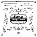 Collection of decorative vintage and classic design element vector illustration