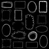 Collection of decorative white hand drawn frames on black background Stock Images